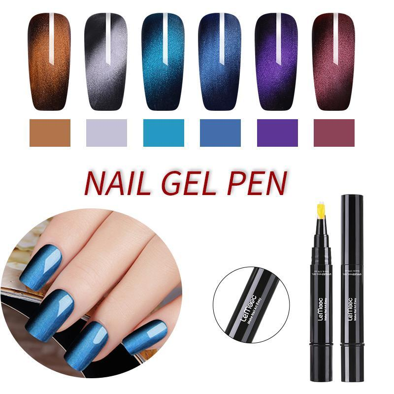 Lemooc 5ml Nail Gel Pen 3d Wide Cat Eye Gel Polish Magnetic Glitter Uv Varnish Soak Off Nail Art Uv Manicure Diy Design