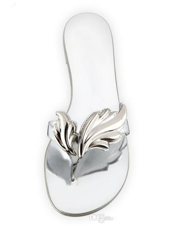 Sıcak Satış-Altın Gümüş Yaprak Kanat Ayaklı kutusu hakiki deri ile Flats Prom Parti Bayanlar sandalet flop