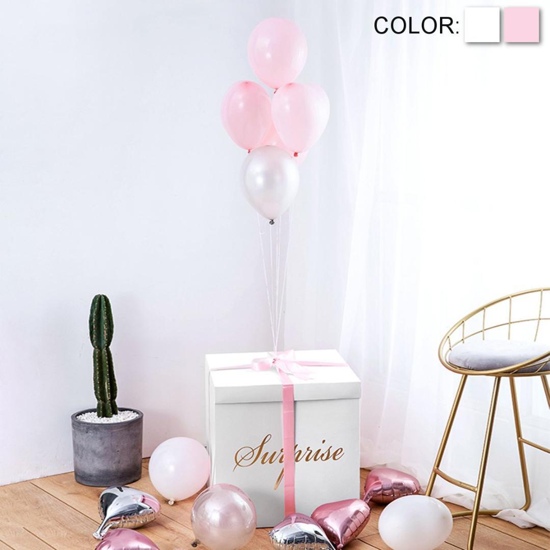 Blanc Rose DIY Surprise Explosion Coffret Cadeau Surprise de soirée de mariage décoration explosion cadeau Ballon Bin Boîte Cadeaux d'anniversaire