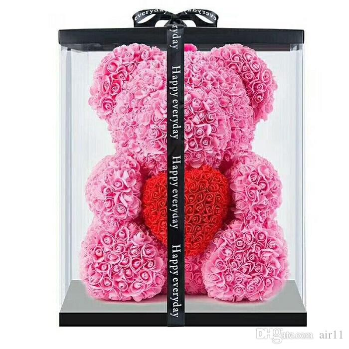 10pcs 40cm with Heart Big Red Bear Rose Flower Artificial Decoration Christmas Gifts for Women Valentines Gift with box