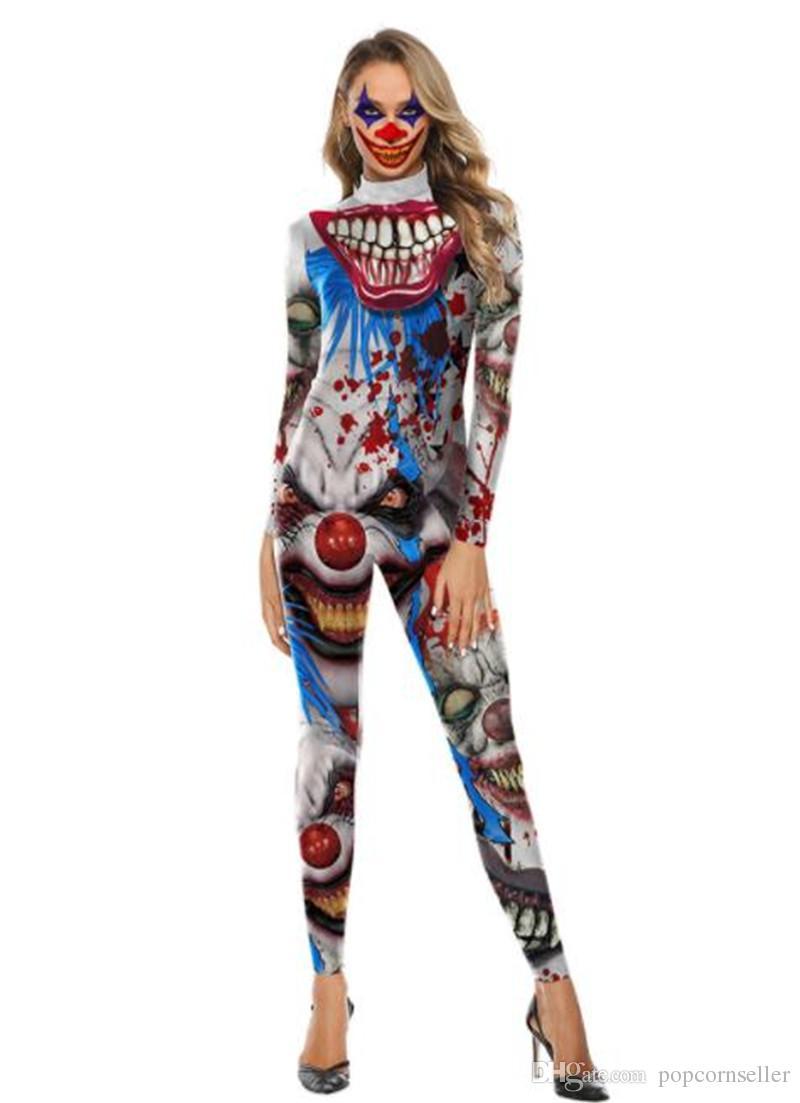 Sexy Halloween Trajes Trajes de caracteres de una pieza 3d tema del traje desfile Impreso Noche partido de las mujeres de Halloween Ropa