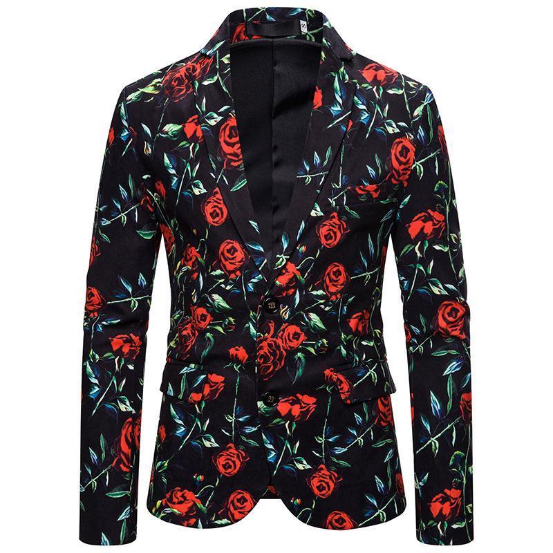 Abiti da sposa per uomo Blazer Cappotti stampa floreale di misura sottile casuale giacca sportiva per gli uomini giacca smoking casuali di nuovo