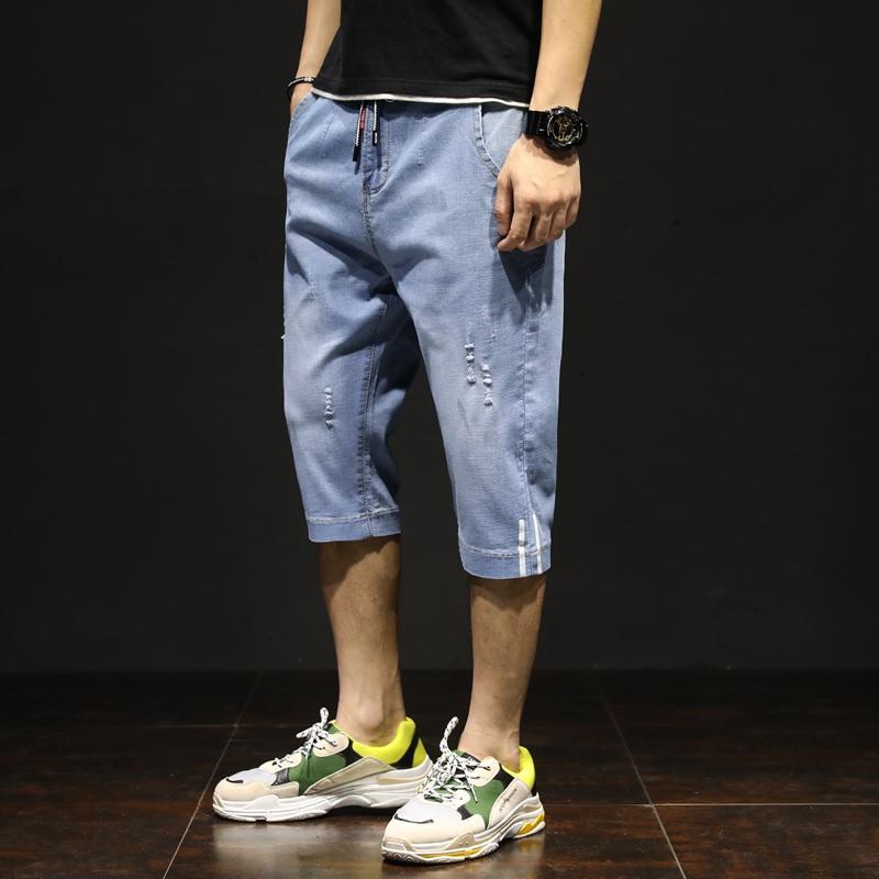 Летние новые мужские джинсы тренд моды свободные эластичные шорты плюс размер повседневные твердые прямые брюки длиной до икр уличная одежда
