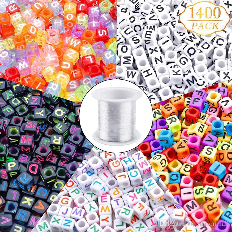 Carta Beads mistos acrílico branco alfabeto Beads para fazer jóias A-Z Cube Beads para colares pulseiras chaveiros DIY Jóias Fazendo N54Y