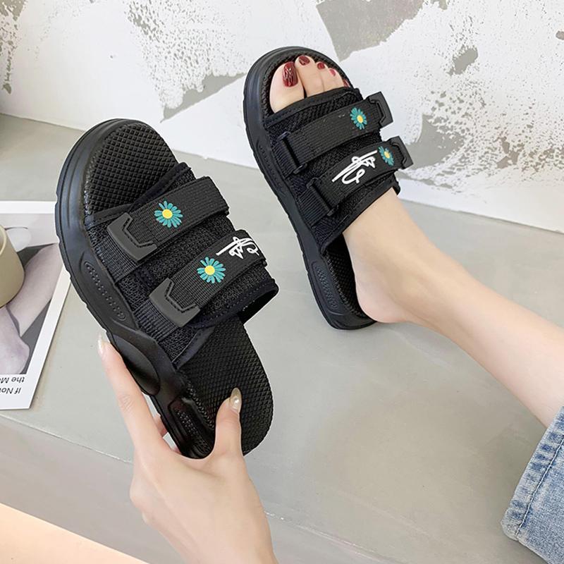 Casual zapatillas zapatilla Slipers Mujeres Plataforma Diapositivas Med 2020 talones de lujo suave plana la tela de algodón de moda Hoof PU