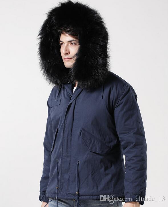 Venda quente Meifeng marca preto forro de pele de coelho azul marinho longo mini parkas com guarnição da pele de guaxinim preto oversize homens jaquetas de neve
