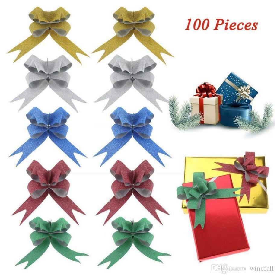 Resplandeciente Tire arcos del embalaje de regalo de la cinta cuerdas de arcos de tracción Decoración de Navidad cinta de embalaje de regalo de Navidad para regalos