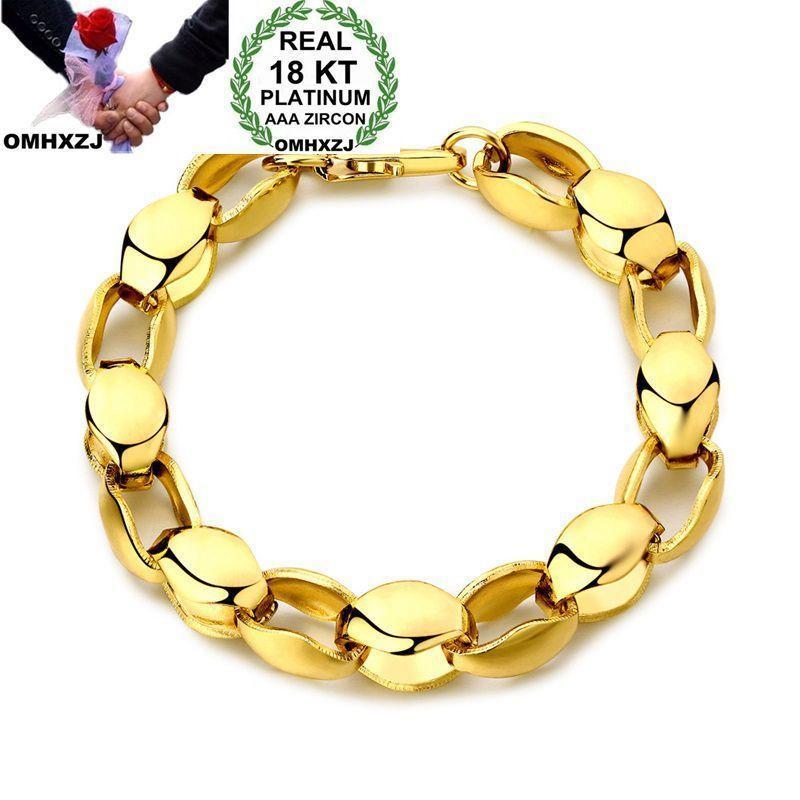 OMHXZJ بالجملة الأزياء الشخصية الحزب رجل هدية الزفاف الذهب سميكة سلسلة 18KT الذهب سوار + قلادة مجموعة مجوهرات SE39