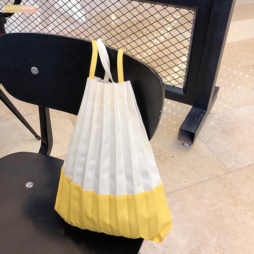 Japanese Wild Pleated Shoulder Bag Canvas Bag Hit Color Harajuku Style Handbag Flower Simple Casual Life Female Bag