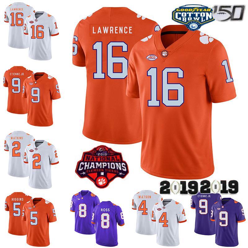 2019 Clemson Tigers Jersey 16 Trevor Lawrence 9 Travis Etienne Jr. 2 Sammy Watkins 8 Justyn Ross 4 Deshaun Watson 5 T Higgins NCAA 150.