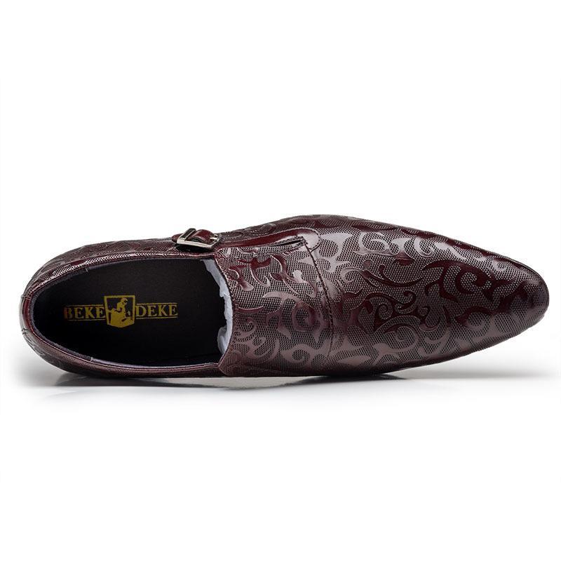 New Floral Imprimé Hommes d'affaires en cuir véritable formel Parti Chaussures Robe de mariée Chaussures Slip On Mocassins Buckle Office Shoes