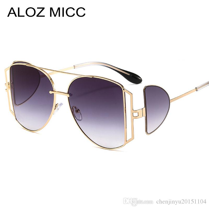 Завышение Punk площади Солнцезащитные очки Женщины Luxury Два объектива Мода Солнцезащитные очки Мужчины Марка Дизайнер металлический каркас óculos UV400A688