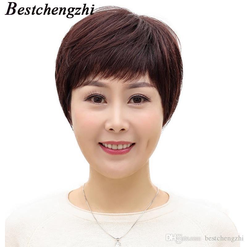 Short Cut Bob perruque péruvienne Remy cheveux humains perruques pour les femmes noires brun foncé machine Engrossé perruque Livraison gratuite par Epacket