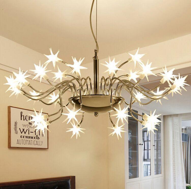 Lámparas pendientes de la lámpara colgante de luz LED LED cielo estrellado moderno Starlight flor de hielo Para el estudio Parlour Bar Hotel Inicio de iluminación MYY