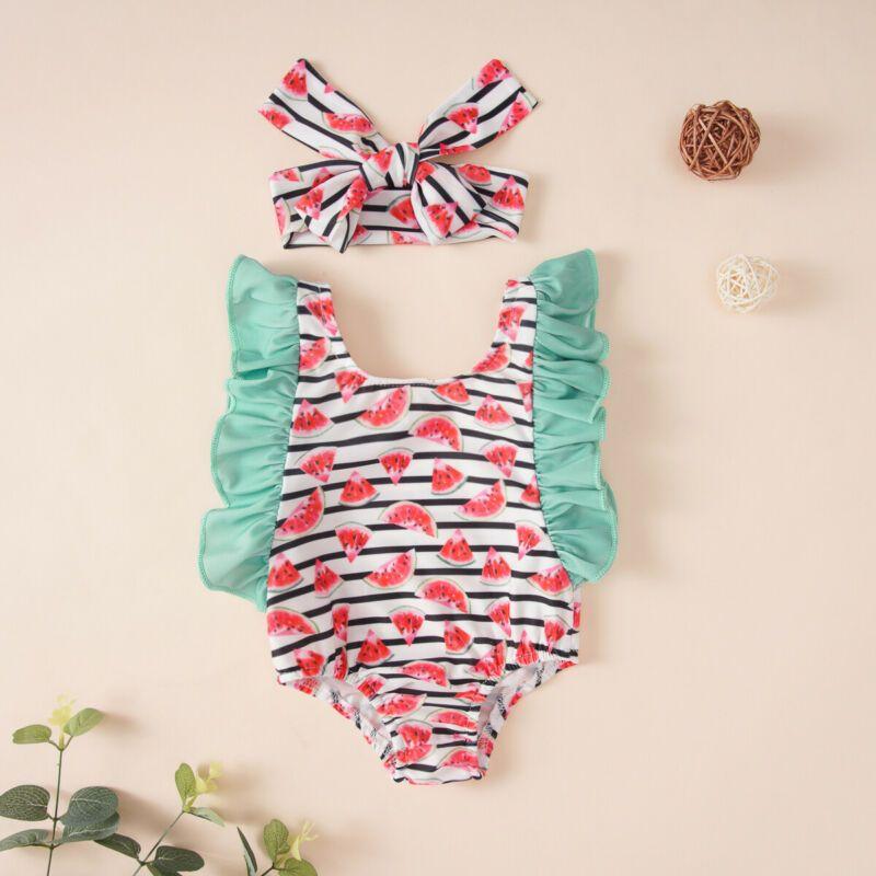 Yaz Çocuk Yenidoğan Bebek Kız Mayo Karpuz Mayo Yüzme Kafa Giyim