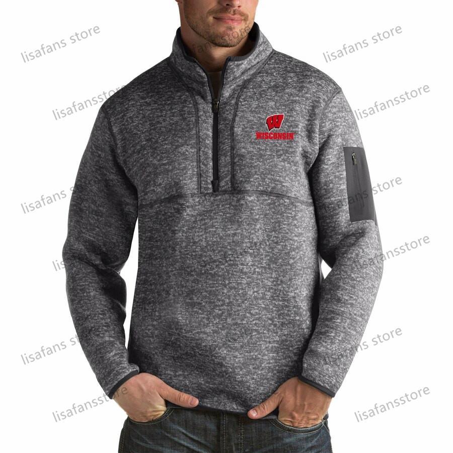 Висконсин Барсуки пуловер Кофта мужского Форчун Big Tall Quarter-Zip Pullover Жакеты прошитых Американского футбол Спорт толстовка