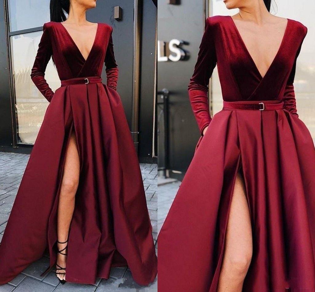 2020 New Sexy profundo decote em V Velvet Dresses Prom mangas compridas Burgundy alta Dividir o chão partido Quinceanera Plus Size vestidos de noite formais