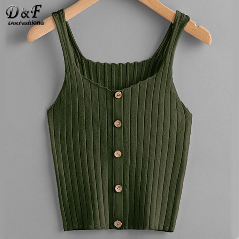 Dotfashion Ladies Button Up Rib Knit Plain Top 2019 New Arrival Scoop Neck Vacation Vest Women Autumn Skinny Casual Camisole Y190509