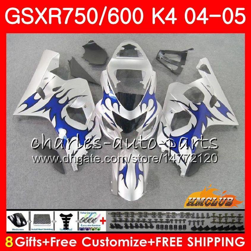 Carrosserie voor Suzuki GSXR 750 GSX R750 GSX-R600 GSXR600 04 05 7HC.79 GSXR-750 GSXR 600 04 05 K4 Blue Flames Hot GSXR750 2004 2005 Fairing Kit