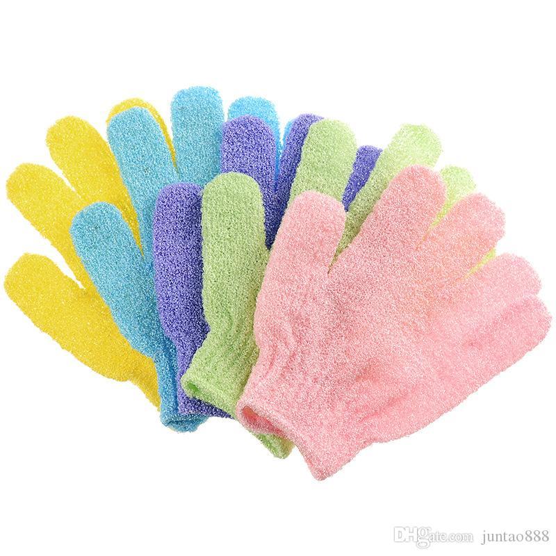 venda quente Bath luva Nylon Massagem esfoliantes luvas de banho Não toalha esfregar bolha rico cor misturada