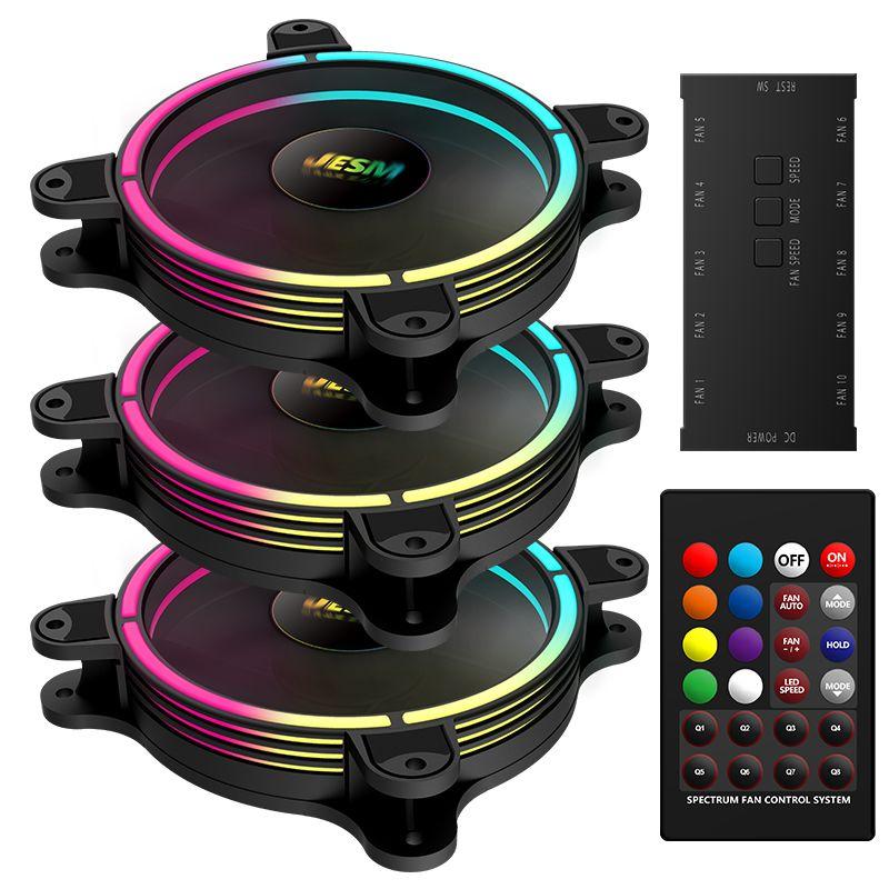 Jesm Bunte J3 Sinfonie RGB-Fans 12cm Kühlung Lüfter Fall Lüfter Funkelnder Chassis-Lüfter mit Multi-Modus-Verfärbung Aurora