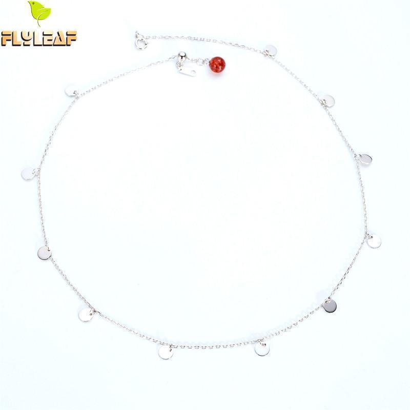 Flyleaf 100% 925 Sterling Silber Erdbeer Kristall Runde Pailletten Choker Halskette Für Frauen Minimalismus Dame Modeschmuck