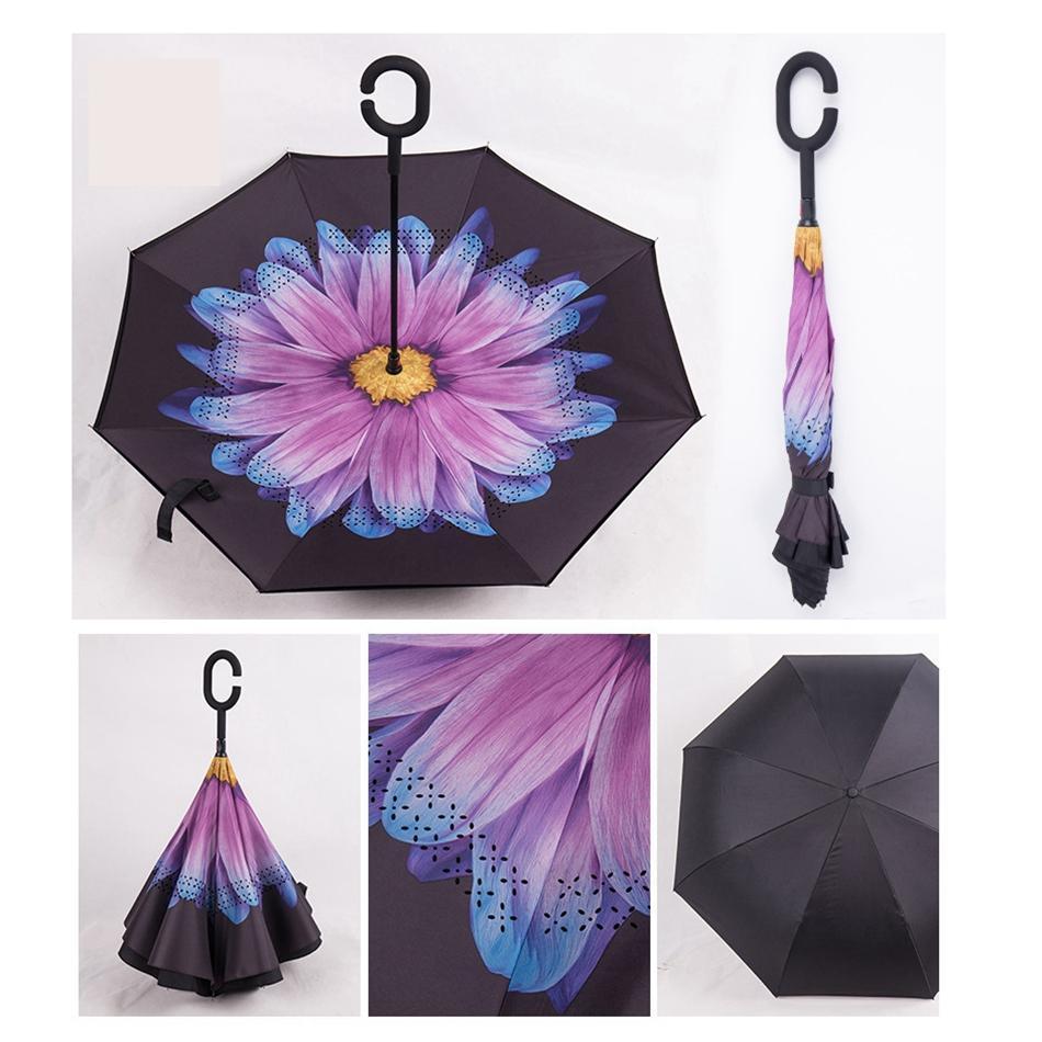 역 우산 C 핸들 방풍 역 비 썬 스크린 보호 접는 더블 레이어 반전 가정용 잡화 LJJP66