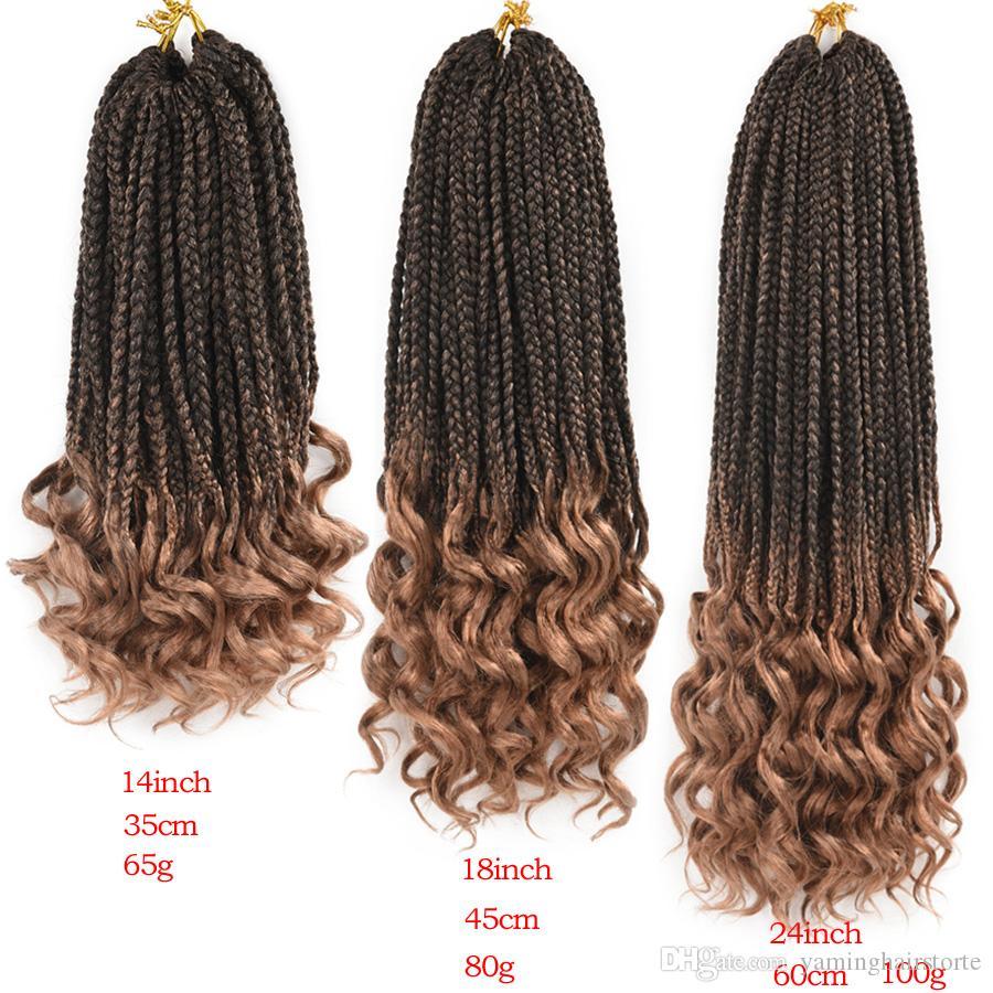 14 18 18 24 인치 크로 셰 뜨개질 헤어 박스 머리 껍질 곱슬 끝을 끝냅니다. 머리카락을 땋는 22 가닥 땋은 머리카락 확장