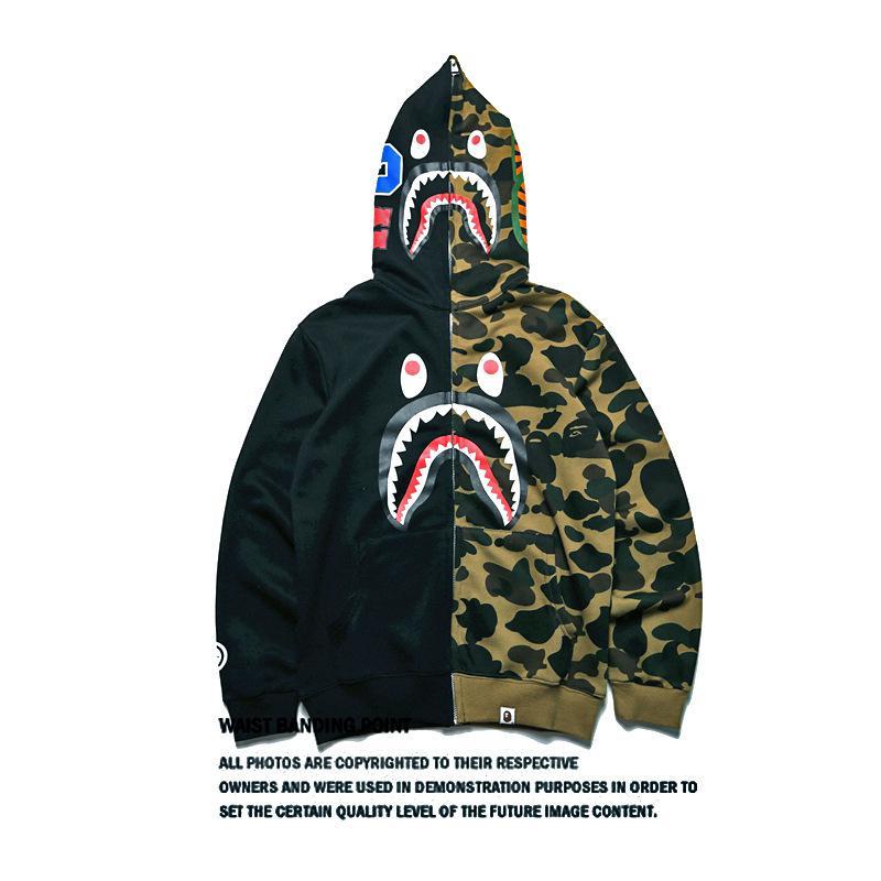Sudaderas con capucha para hombres de moda con la marca Shark Mouth Marea estampada Costura Sudaderas para hombre Chaqueta de punto de manga larga para hombres S-2XL