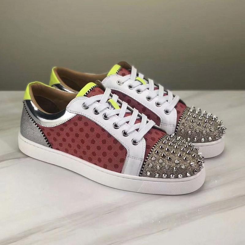 Fashion Designer inferior é sapatos vermelhos Studded Spikes planas tênis para mulheres dos homens amantes da festa multicolor couro ocasional rebite sapatos desportivos