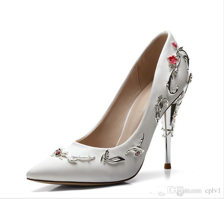 2020 zapatos de novia alph Russo Rosa Azul Negro cómodo de boda del diseñador de manchas seda eden zapatos de los tacones para la boda del partido de tarde de baile Zapatos