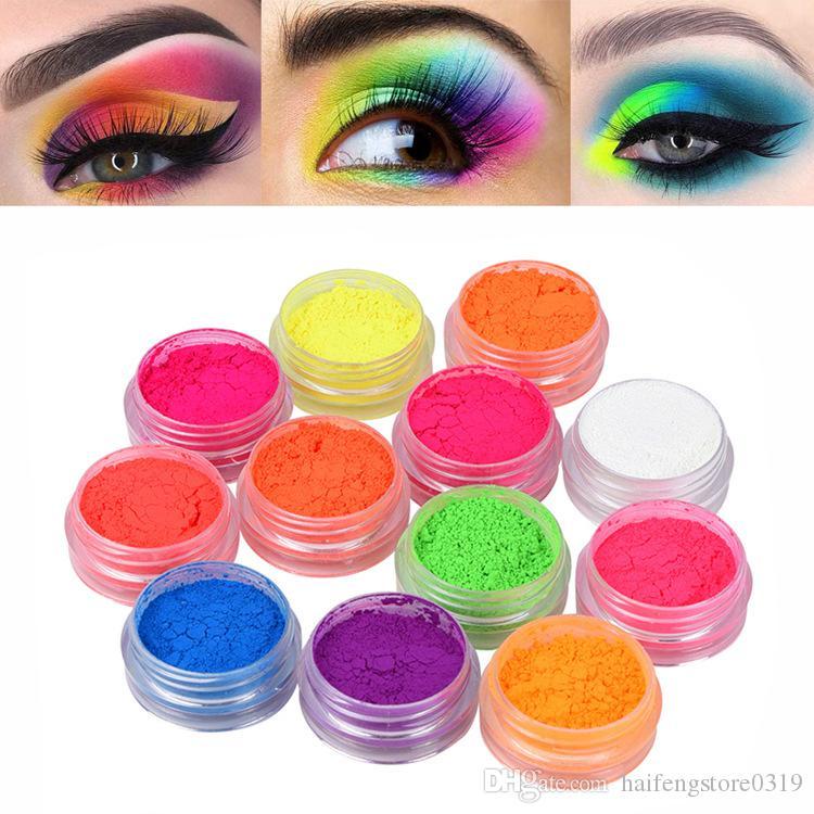 12 pcs / set Fluorescência de energia da composição da sombra de Longa Duração Pigment Eyeshadow prego Glitter Pó Waterproof pigmento dos olhos Cosméticos Sombra