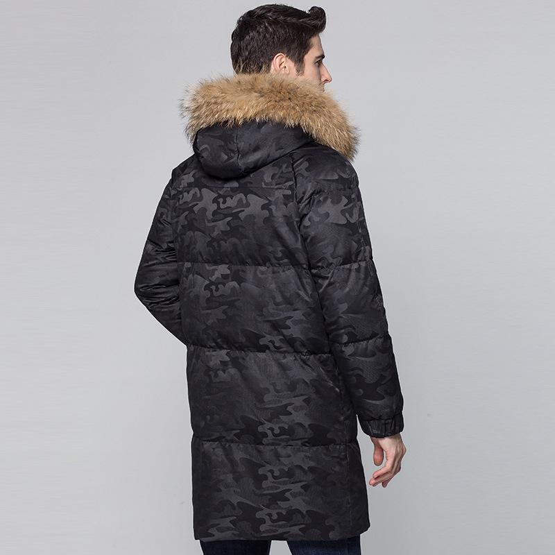 Duck 2020 Down New Jacket Racoon Fur Collar Men's Winter Jackets Long Camouflage Thick Warm Coat for Men Parka KJ674