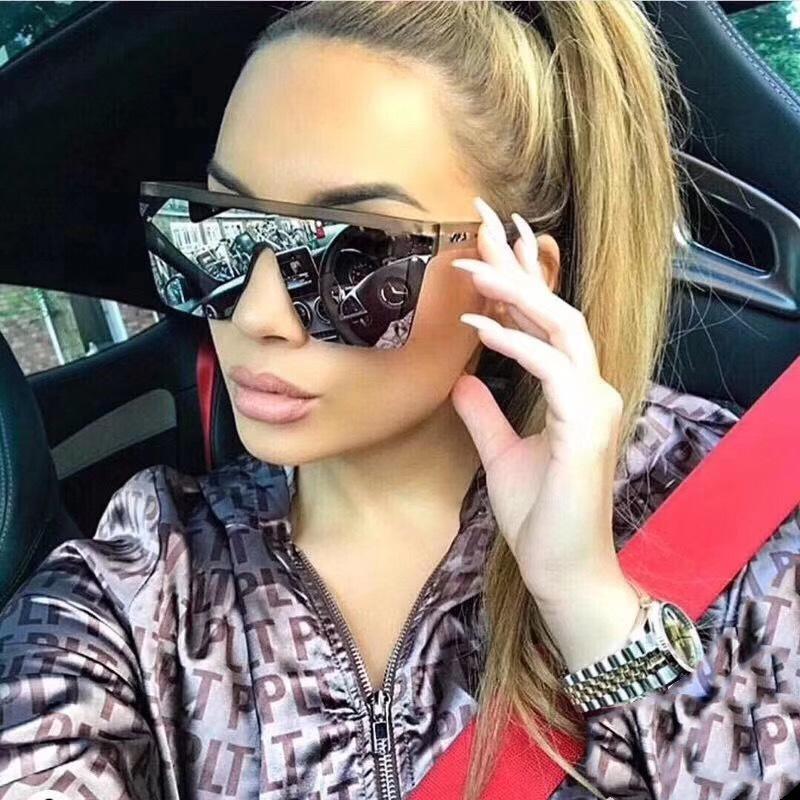 Крупногабаритные квадратные солнцезащитные очки женщин Мода Flat Top Big Pink Black Clear Lens One Piece Женский Gafas Shade Зеркало