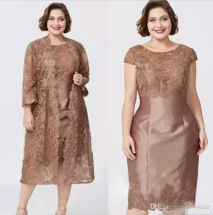 Champagne Tea Length Short Mother of the Bride Dress with Jacket Lace Long Sleeves Evening Party Dress Mother Wedding Guest Gowns