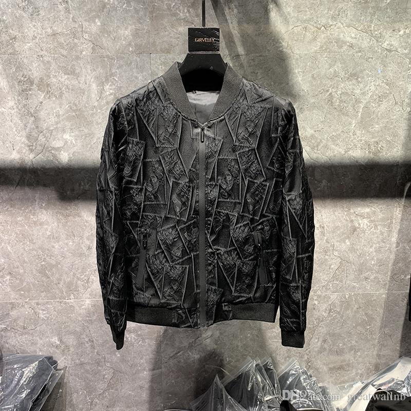 100% echte Herren Luxus schwarz geprägt Jacke / Fashion Model Smoking Jacke / Kausal