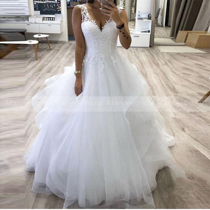 V-образным вырезом Принцесса бальное платье свадебное платье многоуровневого Юбка Тюль платье невесты на заказ Платье-де-Noiva Белый Кот мантий невесты