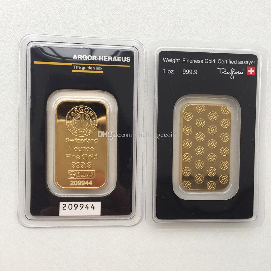 Argor-Heraeus SA Swizerland 1 Ounce Fine Gold 999.9 plated bar Brand new high quality in great blister Non Magnetic Free shipping