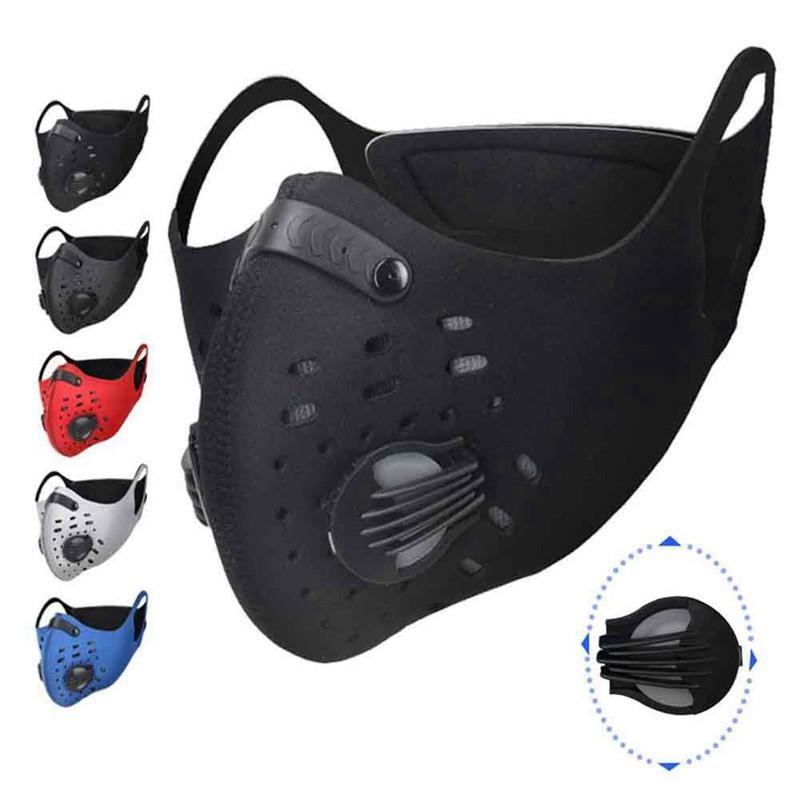 قابل للتعديل الوجه دراجات التدريب الرياضي قناع PM2.5 مكافحة تلوث تشغيل قناع الكربون المنشط تصفية قابل للغسل قناع للدراجات النارية