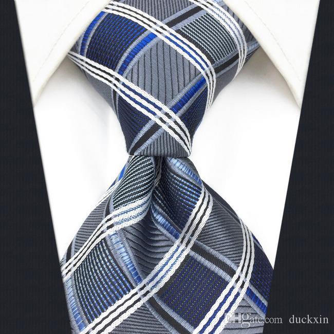 A17 실버 그레이 블루 체크 무늬 기하학적 실크 패션 넥타이 남성용 웨딩 브랜드의 새로운 드레스 남성 넥타이 남성