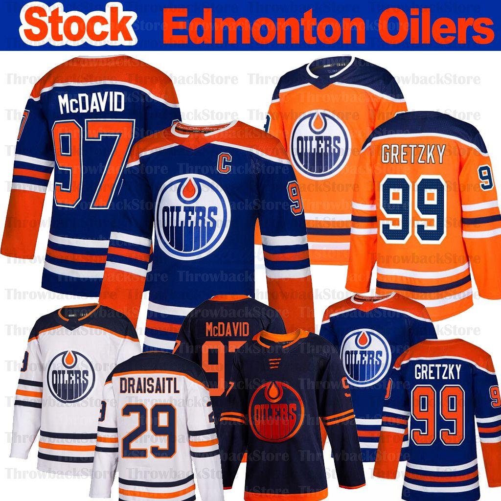 Edmonton Oilers Jersey 97 Connor McDavid 29 Leon Draisaitl 99 Wayne Gretzky 93 Ryan Nugent Hopkins 2019-2020 주식 하키 유니폼