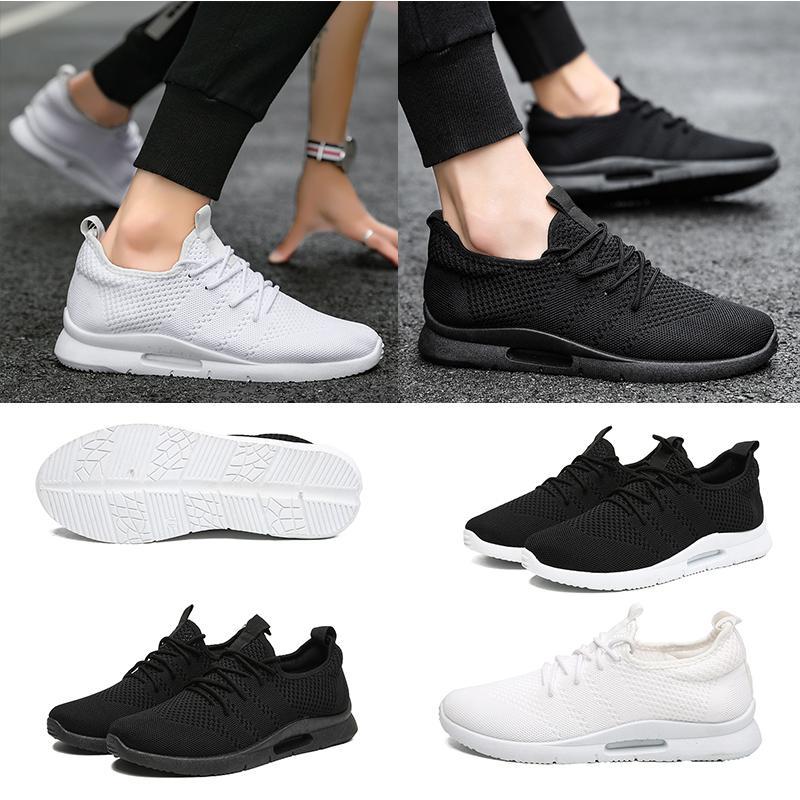 estilo cómodo respirable de la moda hombres de las mujeres de los zapatos corrientes de elasticidad zapatillas de deporte blanca de calidad superior entrenador negro neto triple 39-45