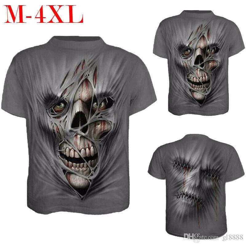 Erkekler O Boyun Vücut Slim Fit Spor Giyim 3D Baskılı Kafatası T-shirt Tops