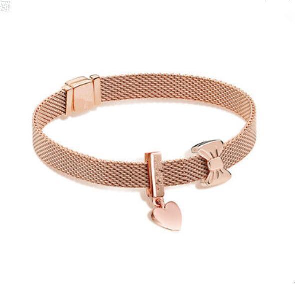 925 Sterling Silver Bead encanto Rose Gold Reflexões Segurança Corrente de grampo Stopper Beads Pan Bracelet Bangle DIY jóias