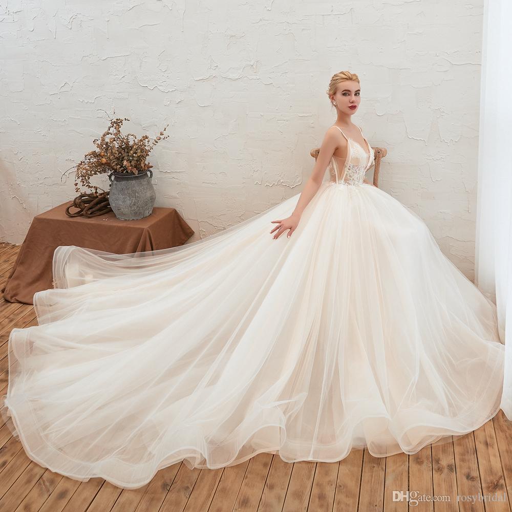 2019 do casamento do laço do vintage Vestidos macia Tulle Backless Robe De Mariee Tribunal Trem Spaghetti Praia Boho vestido nupcial