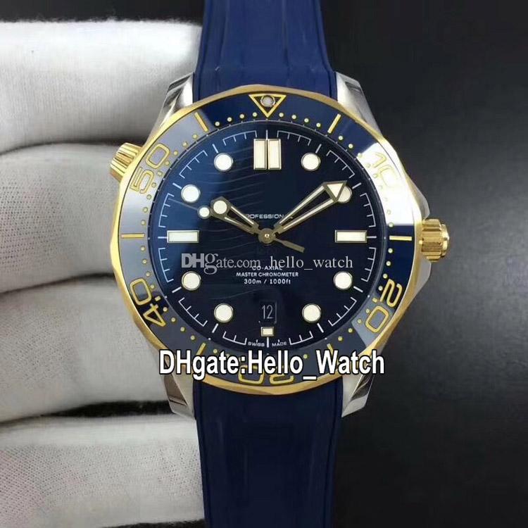 BF Yeni Dive Metre Serisi 210.22.42.20.03.001 Cal.8800 Otomatik Erkek İzle Mavi Dalga Seramik Bezel İki Toen Altın Vaka Kauçuk Askı Dial
