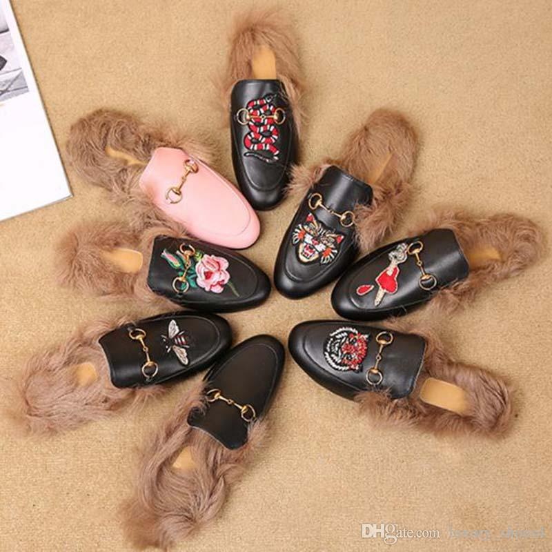 Ladies fur mule slippers leather flat Suede shoes Flower snake mule fashion outdoor slippers fall And Winter shoes FF5