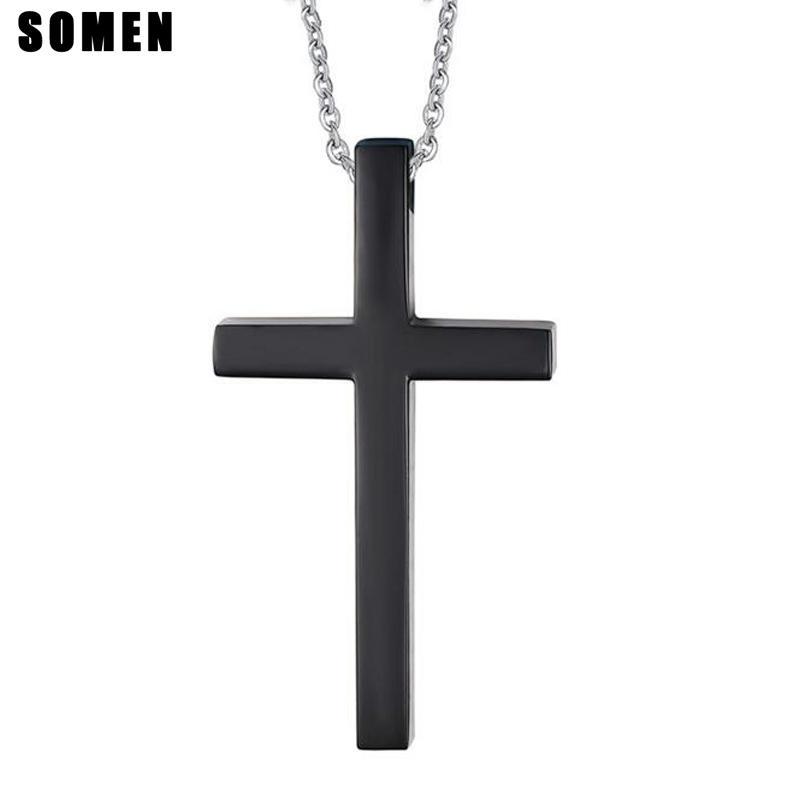 54cm Siyah Çapraz Tasarım 316L Paslanmaz Çelik Kolye için Erkekler Dini Stil Kolye ile Link Zinciri