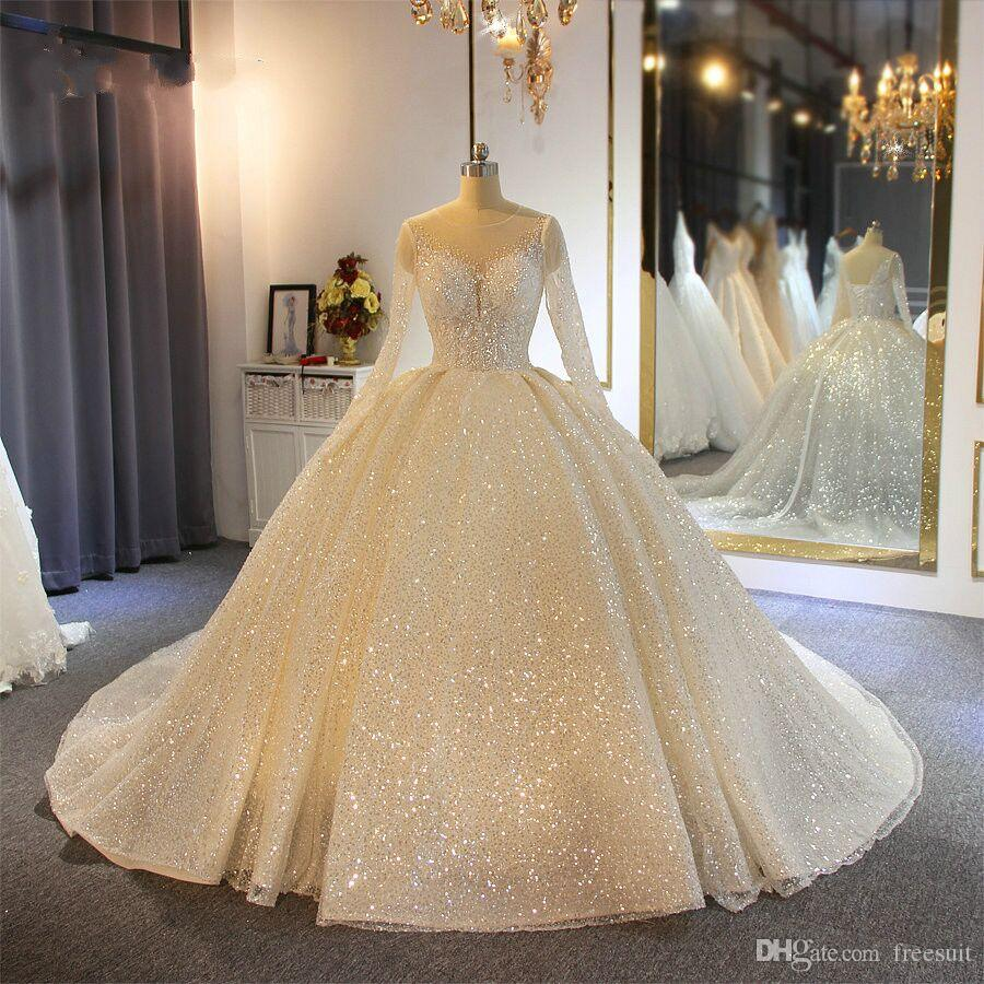 Sparkling Ball Gown Wedding Dresses Sheer Jewel Neck Appliqued Sequins Long Sleeves Lace Bridal Gowns Custom Made Abiti Da Sposa