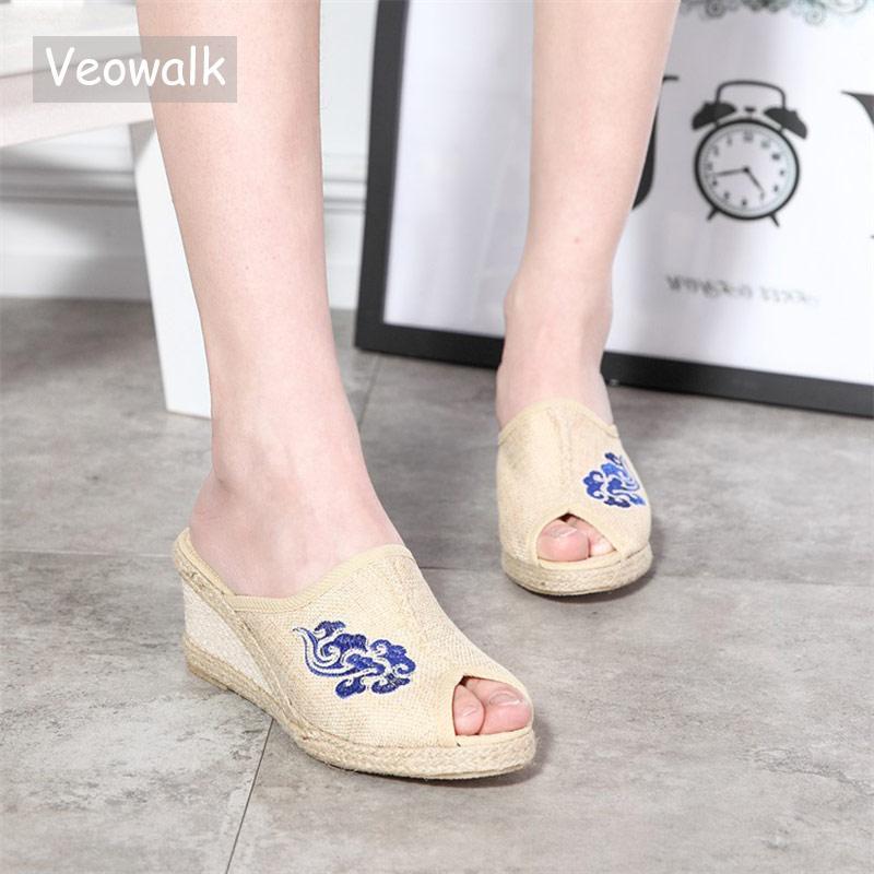 Тапочки VEOWALK Handmade Женщины Льнят Хлопок 6см Клин Слайды Peep Toe Espadriilles Полоски Летние Дамы Удобная Обувь Бежевый